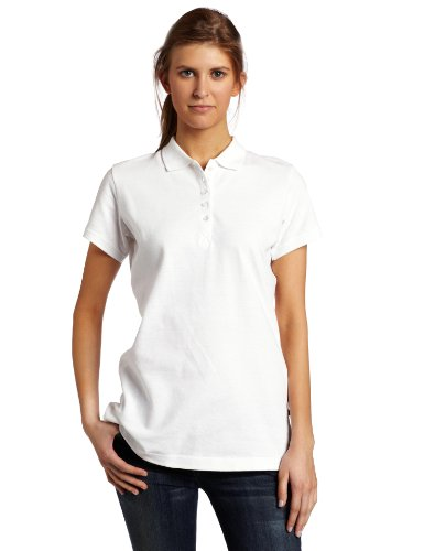 (Dickies Women's Pique Polo Shirt, White, Medium)