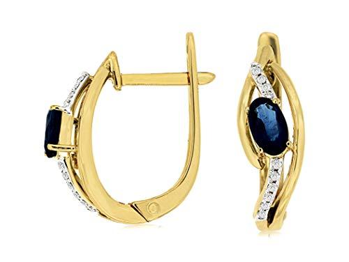 Milano Jewelers .66CT Diamond & AAA Sapphire 14KT 2 Tone Gold Lever Back Hanging Earrings ()