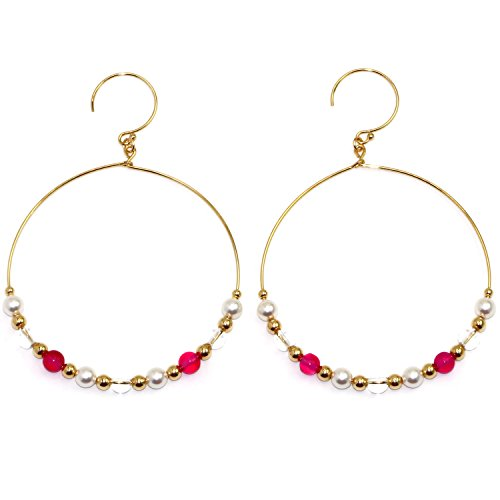 Handmade 14-kt Gold Filled Brass Wire Hoop Earrings with White Swarovski Elements Simulated Pearl, Chalcedony & Crystal Beads