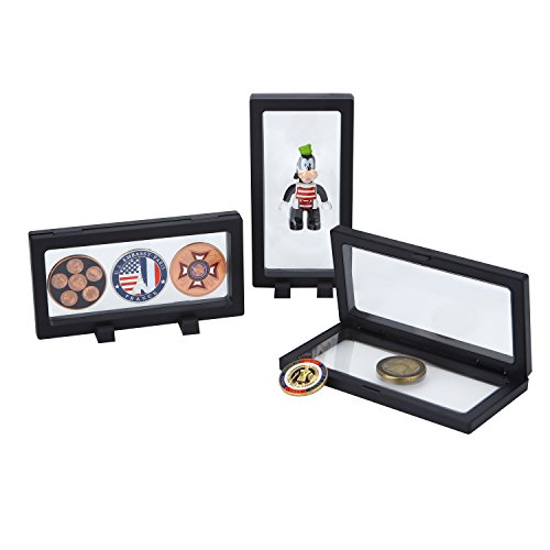 Challenge Coins Displays, 3D Floating Double Sided Stand Box Case Holder Frame (7.1
