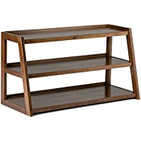 Simpli Home Sawhorse Solid Wood TV Media Stand for TVs up to 52', Medium Saddle Brown