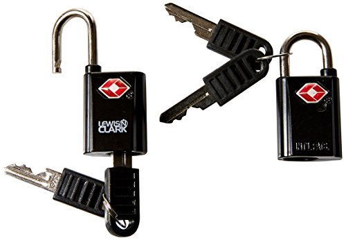 Lewis N. Clark Travel Sentry TSA Lock + Mini Padlock for Luggage Suitcase, Carry On Backpack, Laptop Bag or Purse-Perfect for Airport, Hotel, and Gym (Includes 4 Keys) -2 Pack, Black (With Lock Key Suitcase)