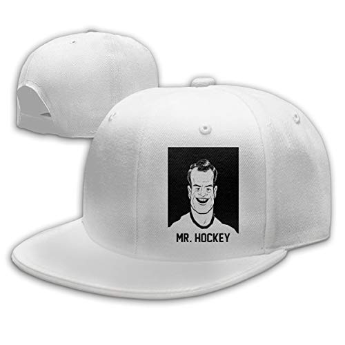 Men Women Gordie-Howe-Face-Pattern Baseball Cap Classic Adjustable Plain Hat White