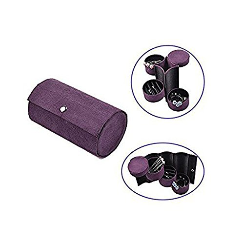 Prime Clearance Sale & Deals Day 2017-Valentoria® Mini 3 Layer Compartment Travel Roll Up Jewelry Organizer Box Case Holder with Snap Closur (Romantic Purple)
