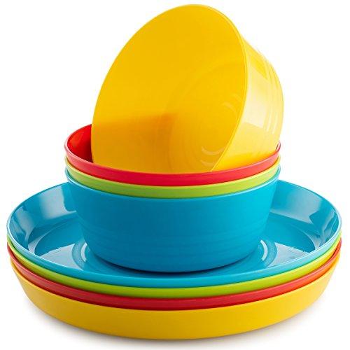 Dishwasher Safe Microwave Safe Plates - Kids Plates & Kids Bowls Set By Plaskidy - Includes 4 Toddler Plates & 4 Bowls. Plastic Plates for Kids are Unbreakable, Reusable, Dishwasher / Microwave Safe, Bright Colors, BPA Free Children Plates.