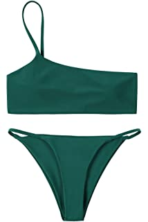 2d02e098c5e Lemonfish Women's Off Shoulder Swimsuit Ruffled Floral Padded Bandeau  Bikini Thong 2 Piece Beachwear Bathing Suit