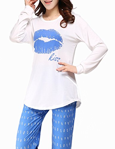 b44859da5c VENTELAN Women Pajama Set Comfy Long Sleeve Sleepwear Sweet Kisses  Loungewear - Buy Online in Oman.