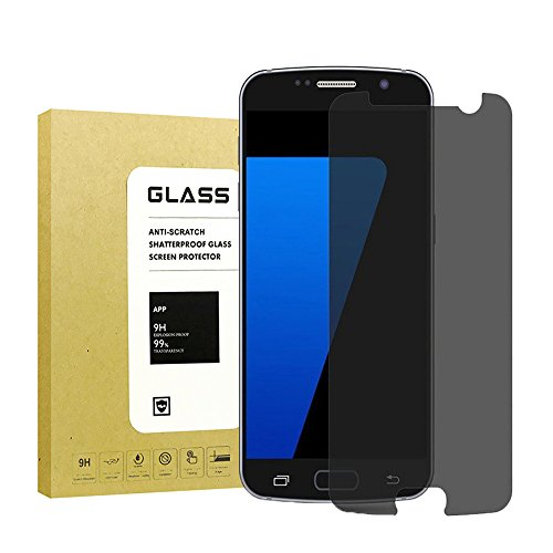 [2-Pack] for Galaxy S7 Privacy Anti-Spy Tempered Glass Screen Protector,Lonlun[9H Hardness][No-Bubble][Anti-Fingerprint][Scratch-Resistant] Glass Screen Protector for Samsung Galaxy S7(Black)