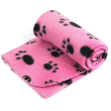 Pet Dog Cat Puppy Kitten Soft Blanket Doggy Warm Bed Mat Paw Print Cushion (Pink)