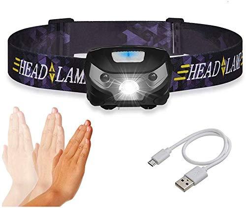 COB Red Light USB-Lade Angeln Nachtfischen Lichter Outdoor-Scheinwerfer f/ür den t/äglichen Gebrauch Radfahren Stirnlampe,Smart Wave Sensor Scheinwerfer