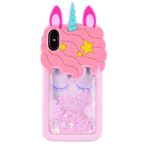 Mulafnxal Quicksand Unicorn Case for iPhone X XS10,Soft Silicone 3D Cartoon Animal Cover,Kids Girls Cute Bling Glitter Rubber Kawaii Character Fashion Cases Skin Protective Protector for iPhoneX Xs