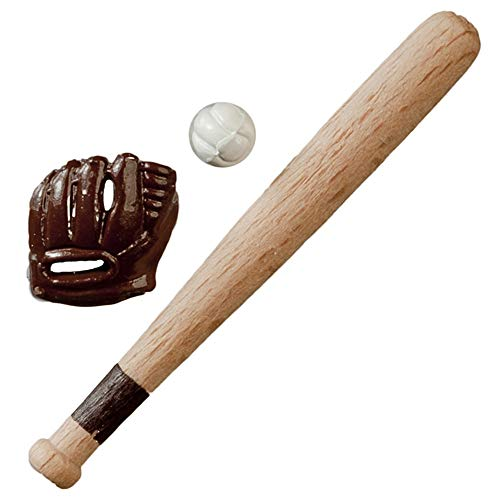 Dollhouse Baseball Bat Glove & Ball Miniature Games Accessory 1:12 Scale