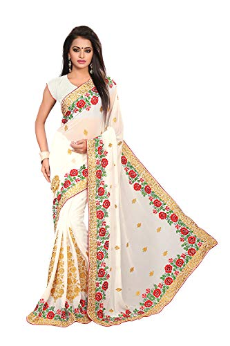 - Saree for Women Indian Ethnic Sari in White Georgette