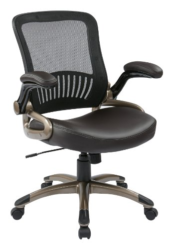 Office Star Screen Back and Eco Leather Seat Managers Chair, Espresso by Office Star