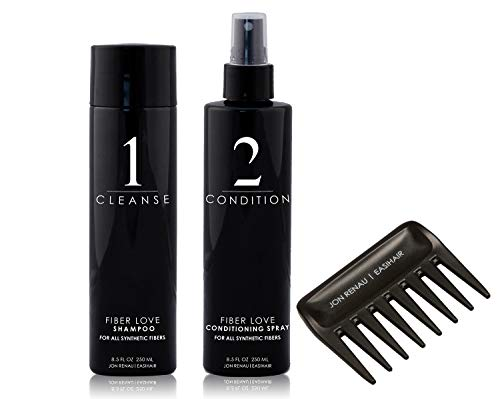 Jon Renau - Fiber Love Shampoo & Conditioner 8.5oz Kit & Wide Tooth Comb