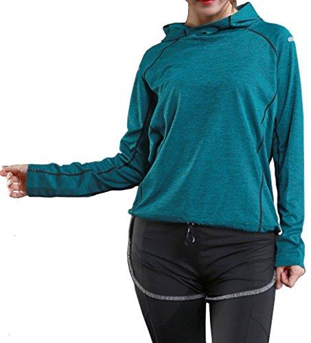 Rdruko Women's Lightweight Activewear Tees Long Sleeve Seamless Fitness T Shirt(Women Green, US L) - Adapter Womens Long Sleeve