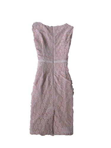 sdk5SIUADT Luxury Dress Women Lace Embroidery OL Work Office Dress Sleeveless Waist Mini Bodycon New Dresses Pink XXL