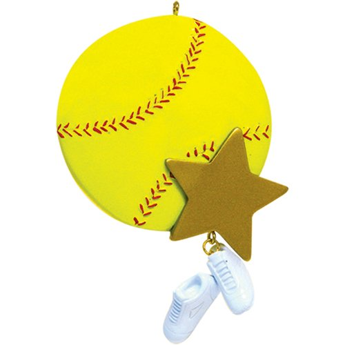 Personalized Softball Christmas Ornament - Sports Mush-Ball with Gold Star and Sneakers Dangling Team Player Athlete Kitten Ladies - Coach Hobby School Active Profession - Free Customization