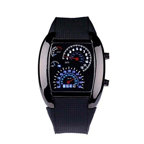 Car Dashboard Tachometer Style Unisex Flash Quartz LED Watch Silicone Watches Strap