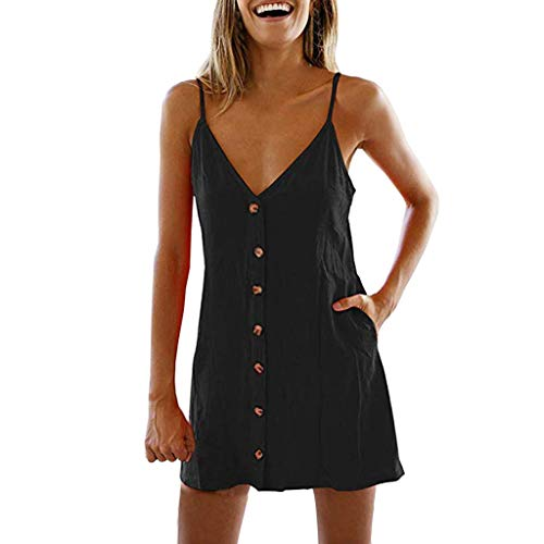 Tank Dresses for Women Casual Loose V Neck Sveless Sling Button Pockets Beach ni Dress Vest Sundress Black