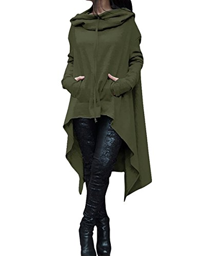 Lunghe Top Elegante Felpa Asimmetrico Maglietta Maniche Felpe Sweatshirt Ragazza Cappuccio Verde Pullover Lungo Tumblr Lunga Donna Vestito Casual Oversize Invernale con gtTtxq1vHw