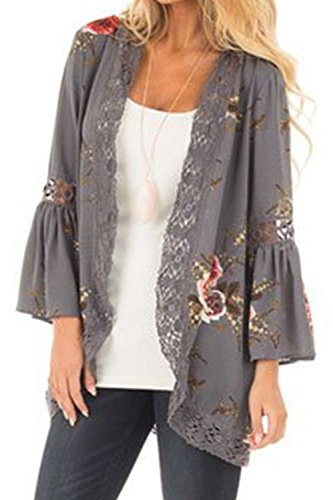 Youth Vitality Women's Floral Print Puff Sleeve Kimono Cardigan Lace Patchwork Cover Up Blouse - Beyonce Kimono