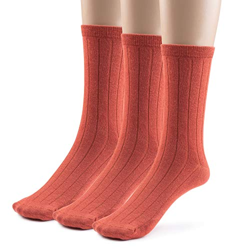 (Silky Toes 3 or 6 Pairs Womens Bamboo Ribbed Dress Socks, Casual Basic Socks ... (9-11, Rust -3 Pair))