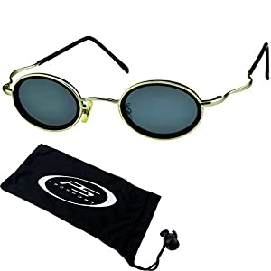 Small round vintage retro 80s Sunglasses with silver frames. Free Microfiber Cleaning Case Included.