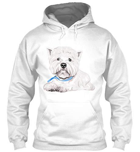 (Westie M - White Sweatshirt - Gildan 8oz Heavy Blend Hoodie)