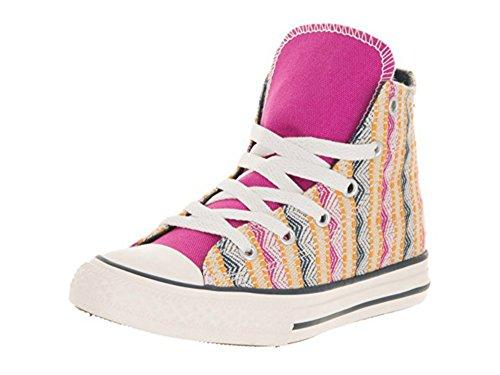 Converse Chuck Taylor All Star Hi-Top (Junior) (5 Big Kid M, Plastic Pink/Solar Orange/Aurora Yellow)