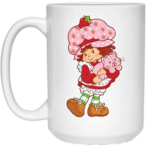 - YaMe, Coffee Mug - Strawberry Shortcake And Lovely Cat Ceramic Coffee Mug Tea Cup (White, 15oz)