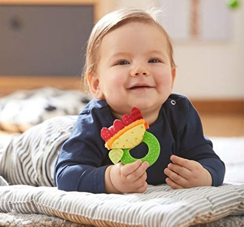 HABA Teether Chomp Champ Flower Teether - Soft Activity Toy with Crackling Foil Petals & Plastic Teething Ring for Babies Ages Birth and Up