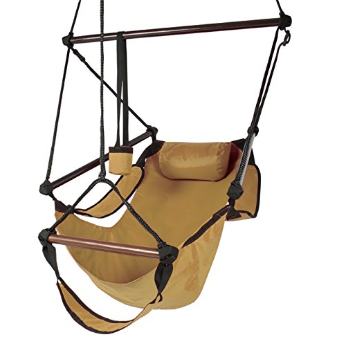 Best Choice Products Hammock Hanging Chair Air Deluxe Outdoor Chair Solid Wood 250lb Tan ()