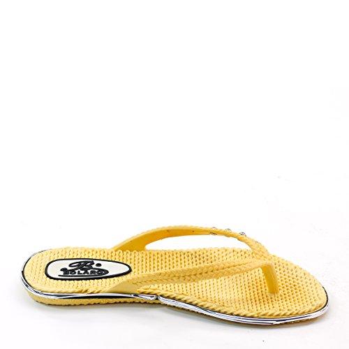 Nieuwe Brieten Damesslippers Flip-flop Comfort Platte Sandaal Geel