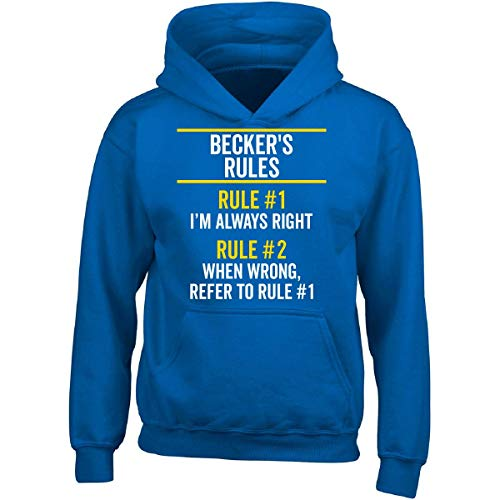Becker Boys Sweatshirt - Becker Rules Always Right Family Name Pride Funny Gift - Adult Hoodie M Royal