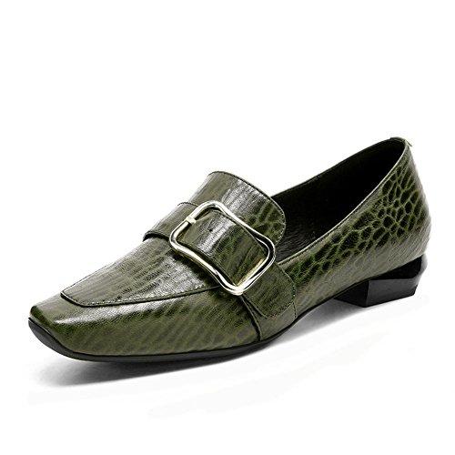 Cabeza Tacón Casual Cómodo Green Verde Bloquear Mujer Ponerse Hebilla Cuadrado Soltero Negro Caminar 7 Eur Zapatos Trabajo Nvxie Barco Cinturón eur39uk665 Para Zapatillas Zapato Mocasines Bajo 40 Cuero uk Ipxwtn7v6q