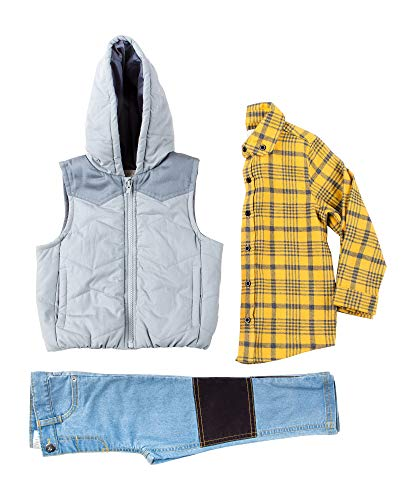 Kinderkind Kids Toddler Boy Puffer Vest, Flannel Shirt and Denim Pants Set: Sizes 2T-3T-4T-5T