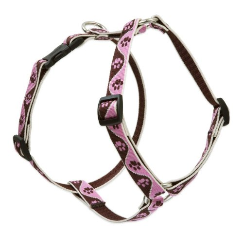 "LupinePet Originals 3/4"" Tickled Pink 14-24"" Adjustable Roman Dog Harness for Medium Dogs"