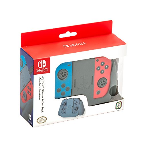 Nintendo Switch Joy-Con Action Grip and Thumb Grips - Grey Textured Silicone
