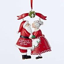 """Kurt Adler 3.75"""" Resin mr & Mrs Santa Under Mistletoe Ornament"""
