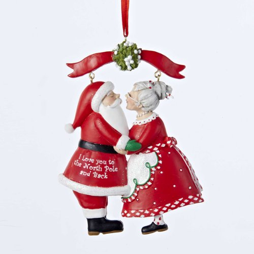Kurt Adler 375 Resin Mr Mrs Santa Under Mistletoe Ornament