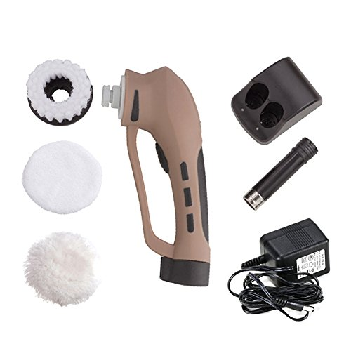Electric Shoe Polisher, Cordless Shoe Polish Electric Brush Scrubber with Rechargeable Battery Handheld Automatic Shoe Polisher Machine Applicator Portable Cleaning Brush Kit by Yunhigh
