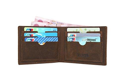 BAIGIO Unisex Retro Geldbörse Geldbeutel Kreditkartentasche Hochformat Börse aus echtem Leder Taschen, Braun
