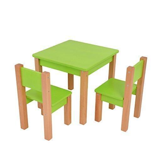 Kindertisch mit 2 stühle - 3 tlg. Set: Sitzgruppe für Kinder - Grün/natur - Tisch + 2 Stühle/Kindermöbel für Jungen & Mädchen Kindersitzgruppe Mobi