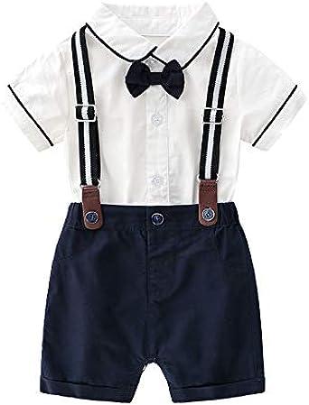Trajes de caballero para bebé, camisa blanca + pantalones cortos + pajarita + tirantes - Blanco - 80 cm (12- 18 meses): Amazon.es: Ropa y accesorios