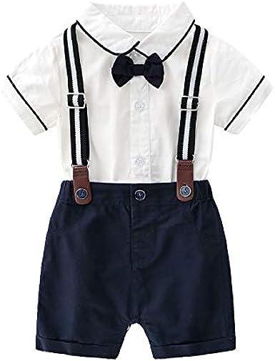 Trajes de Caballero para bebé, Camisa Blanca + Pantalones Cortos + Pajarita + Tirantes