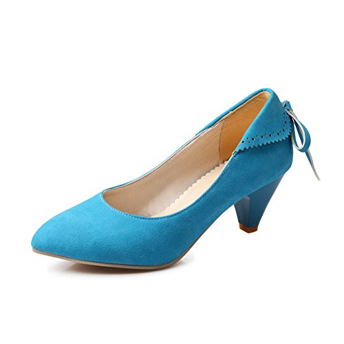Lucsender Mujeres Pointed Toe Kitten Heels Bombas De Moda Zapatos Con Bowknot Azul