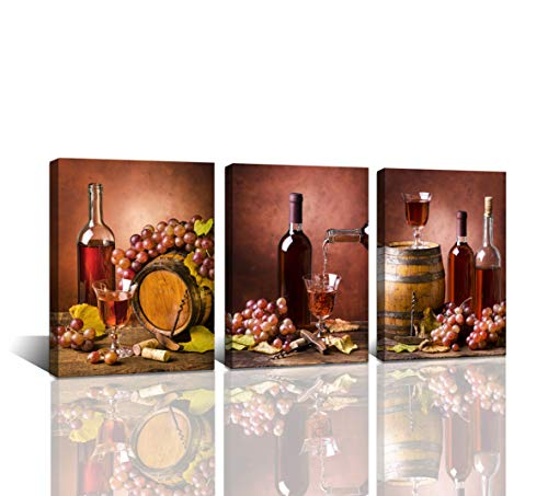 Baisuwallart-3 Pieces Kitchen Wall Decor Red Wine Cups HD Modern Framed Wall Art Drink Food and Beverage Restaurant Canvas Prints Pictures Paintings Wine Glass Barrel for Dining Room