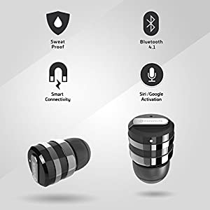 Rowkin Mini Plus+ True Wireless Earbud, Bluetooth Headphone w/ Mic. Smallest Cordless Hands-free Stereo Earphone Headset w/ Charging Case for Android and iPhone (BUY 2 for Stereo Sound) - Space Gray