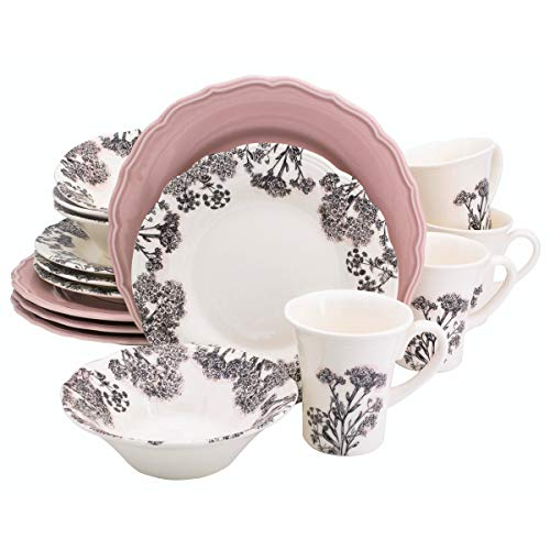 Euro Ceramica Savannah Collection 16 Piece Elegant Ceramic Dinnerware Set, Service for 4, Floral Decal with Hand-Painted Pink Accents, Pink Review